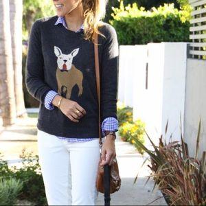J. CREW French Bulldog Pullover Sweater Small